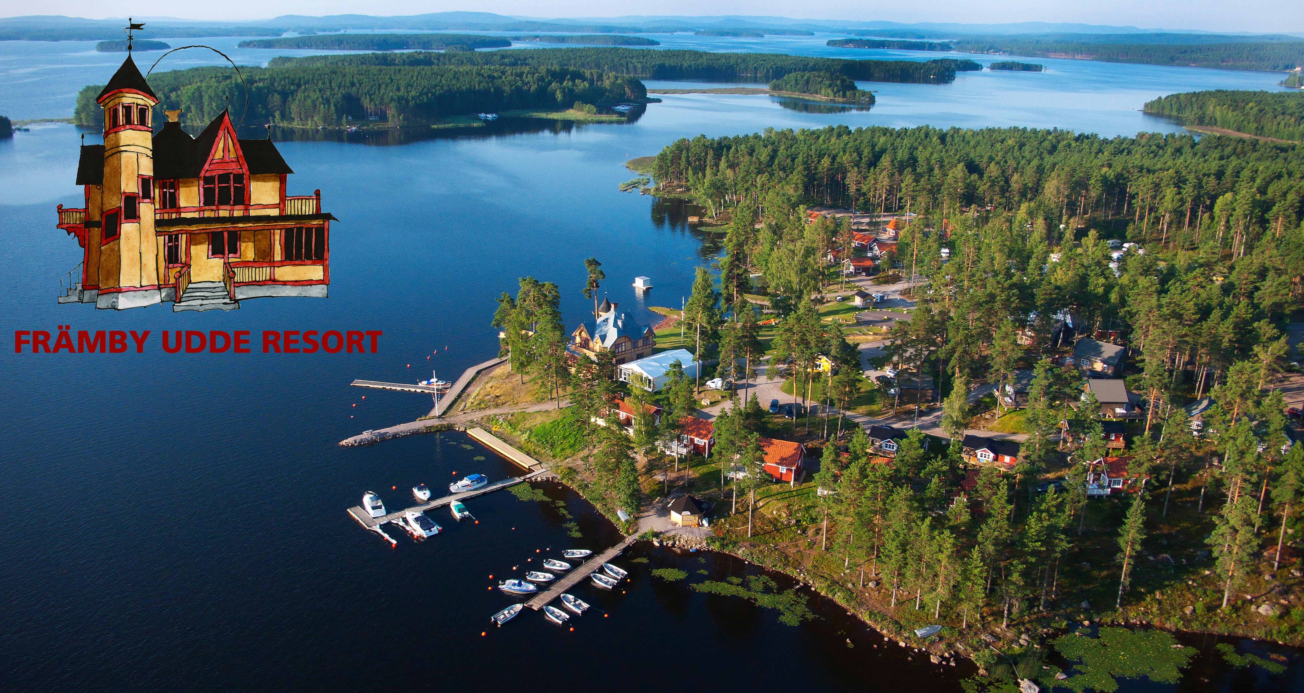 Främby Udde Resort med logga